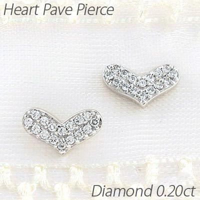ピアス ゴールド 18k ダイヤモンド ハート パヴェ プチ K18