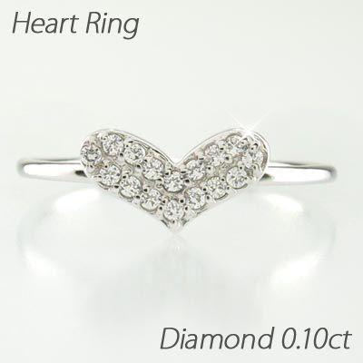 ハート リング 指輪 レディース ダイヤモンド パヴェ プラチナ 900 0.10ct