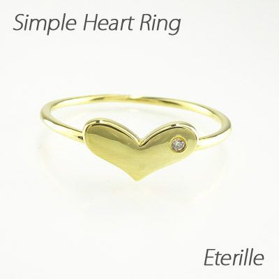ハート リング 指輪 レディース ゴールド 18k ダイヤモンド 地金 K18 YG