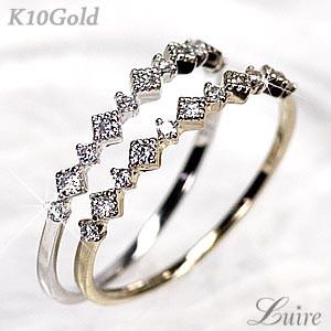 (リュイール)Luire アンティーク調 エタニティリング ダイヤリング 重ね使い 華奢K10WG/YG/PG