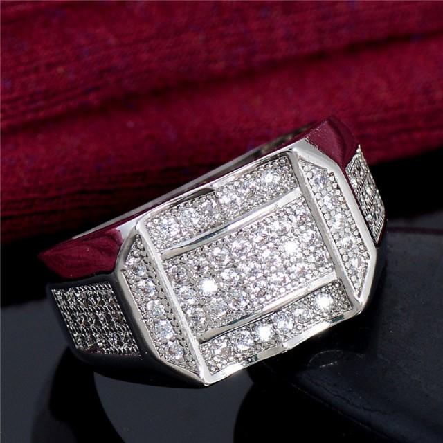 指輪 リング メンズ アクセサリー シルバー 925 ジルコニア 長方形 3列 波型カット CZダイヤ