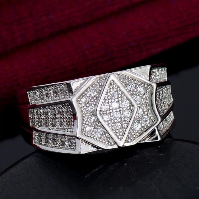 指輪 リング メンズ アクセサリー シルバー 925 ジルコニア 菱形 ひし形 ダイヤカット CZダイヤ