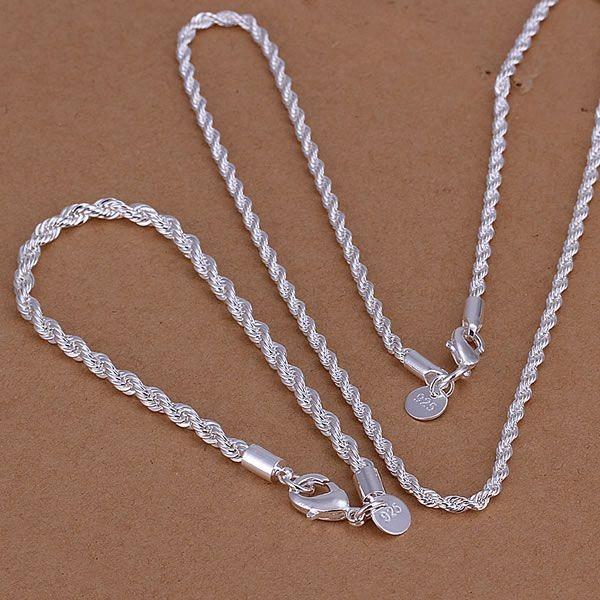 ネックレス ブレスレット シルバー 925 スクリューチェーン セット品 ロープチェーン 3mm 2点セット