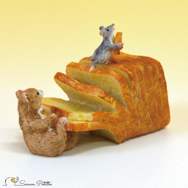 茶トラ猫 ねこ ネコ レトロ アンティーク風 食パン 猫とねずみ 置物 オブジェ プレゼント ギフト かわいい ミニチュア EV14441A 高さ約5
