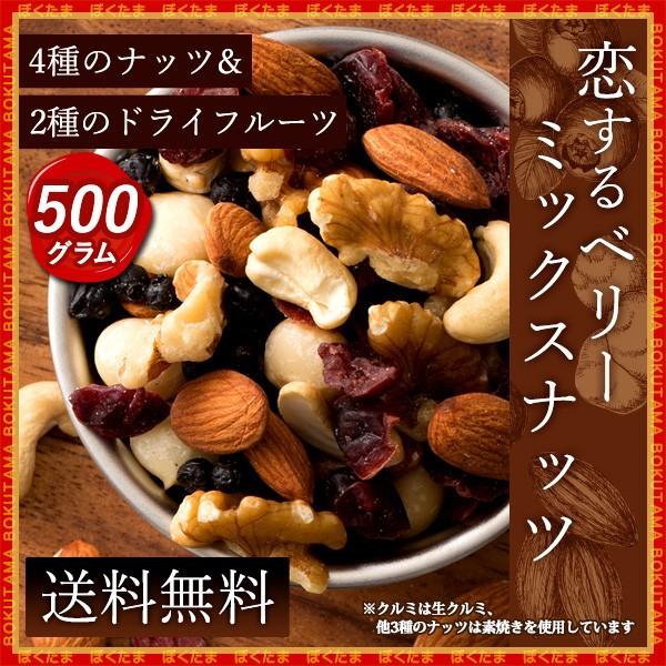 ナッツ ミックスナッツ 無添加 無塩 ベリー入りミックスナッツ 500g (250gx2) トレイルミックス [ ドライフルーツ アーモンド 生くるみ