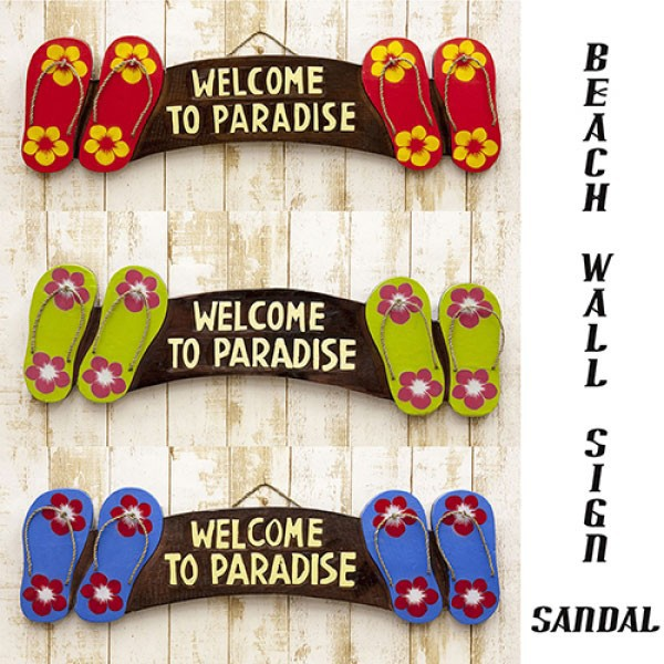 ハワイアン雑貨 壁掛け サンダル ビーチ 看板 ウッドボード ウェルカムボード 木製 ビーチウォールサイン HAPPY HOUR BR