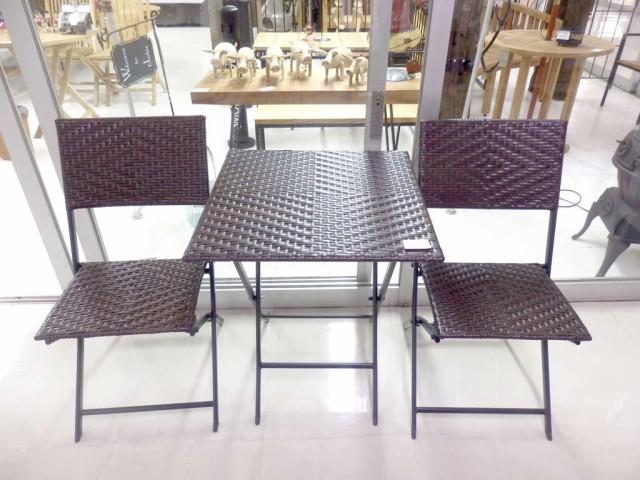 折り畳み式 スクエア テーブル チェア ラタン調 3点セット人口ラタン おしゃれ リゾート