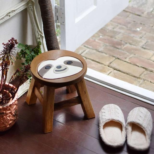 スツール 木製 動物 なまけもの グランピング アンティーク 椅子 インテリア