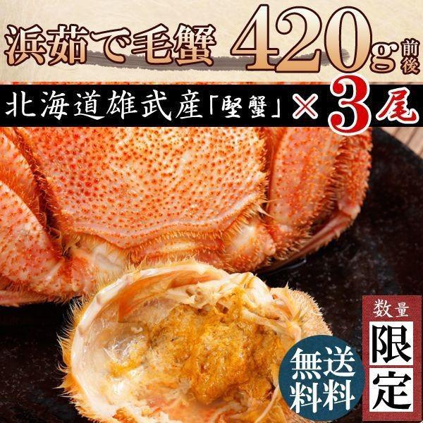 お中元 [かに 蟹]毛ガニ特大(毛蟹 数量限定 最高級 北海道産)420g×3尾 送料無料 お歳暮