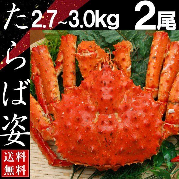 タラバガニ 姿 たらば蟹 脚 足 ボイル 2.7kg〜3kg 2尾 冷凍 北海道加工 送料無料 かに ギフト プレゼント お買い得
