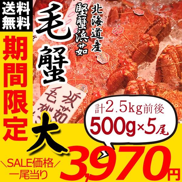 毛ガニ 北海道 毛蟹 姿 500g×5尾 かに けがに 毛がに かにみそ かに足 ギフト カニ お歳暮 ギフト 蟹 送料無料 お買い得
