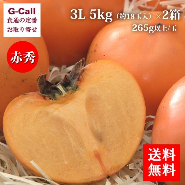 花御所柿 赤秀 3L 5kg 約18玉入 2箱 JA鳥取いなば 送料無料 はなごしょがき 鳥取県産