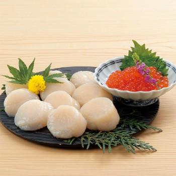 送料無料 北海道いくら醤油漬 &ほたて貝柱セット 北海道ぎょれん