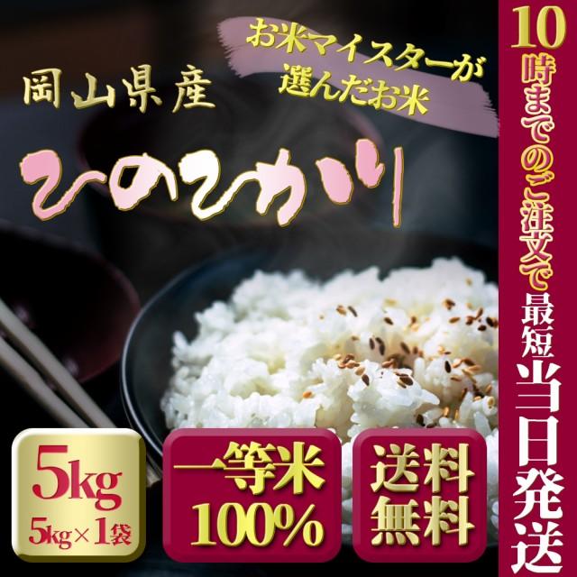 お米 令和2年 岡山県産ひのひかり5kg 5kg×1袋 お米 安い 送料無料 ヒノヒカリ 5キロ 北海道沖縄離島は追加送料