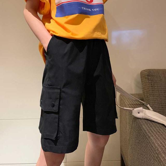 ボトムス ハイウエスト レディース ショートパンツ ズボン おしゃれ ファッション 春夏 ワイドレッグ 5分丈 ポケット付き ブラック グレ