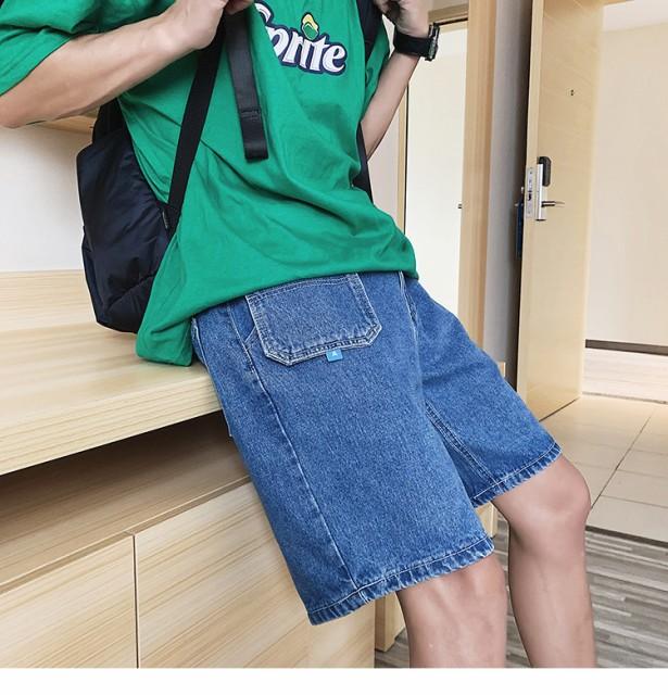 2019春夏 メンズ ボトムス ショートパンツ 5分丈 デニム ポケット ゆったり ウォッシュ加工 サイズ豊富 ブルー