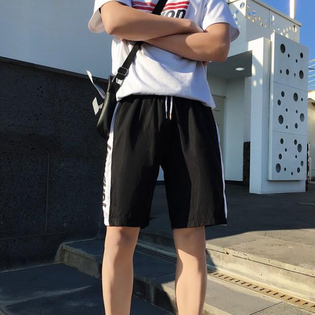 2019春夏 メンズ ボトムス ショートパンツ 5分丈 ポケット 無地 ライン ロゴ ひも付き ゆったり カジュアル レジャー ブラック レッド