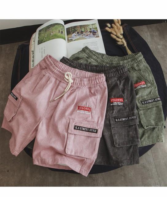 2019春夏 メンズ ボトムス ショートパンツ 5分丈 ポケット 無地 ゆったり カジュアル サイズ豊富 グリーン ピンク グレー