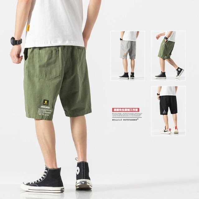 2019夏 メンズ ボトムス ショートパンツ ポケット ゆったり ウエストゴム カジュアル アウトドア レジャー ブラック グリーン