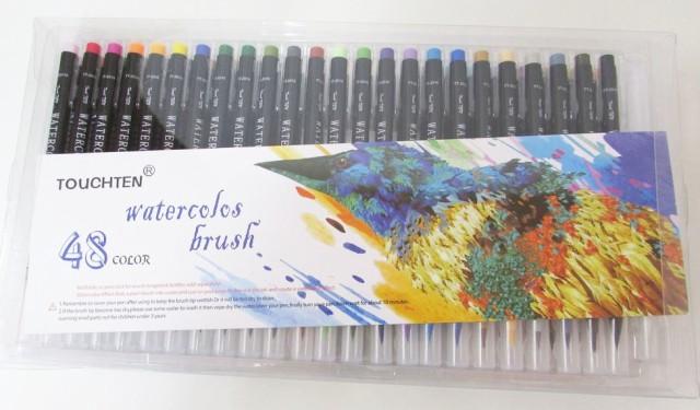 【TOUCHTEN アウトレット】watercolos brush 水彩毛筆 カラー筆ペン ブラシチップマーカー 48色セット