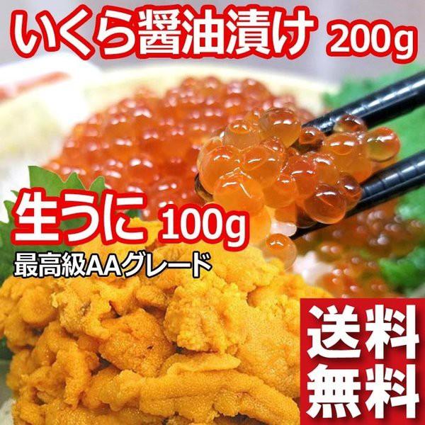 無添加 生冷凍 うに 100g と 鮭 いくら醤油漬け 200g 最も人気のある北海道加工 鮭 いくら1番子と最高級AAグレードの ウニ のセットです