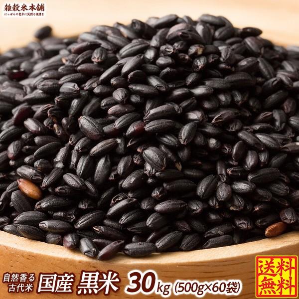 雑穀 雑穀米 国産 黒米 30kg(500g×60袋) 送料無料 厳選 もち黒米 ダイエット食品 置き換えダイエット 雑穀米本舗
