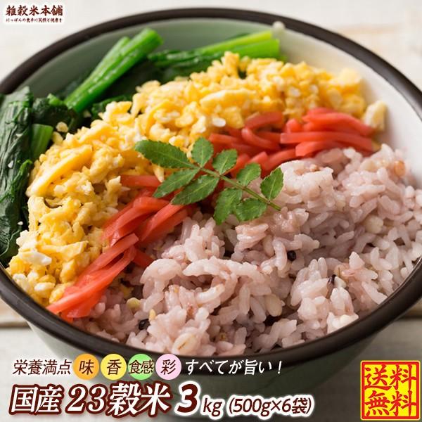 雑穀 雑穀米 国産 栄養満点23穀米 3kg(500g×6袋) 送料無料 国内産 もち麦 黒米 ダイエット食品 置き換えダイエット 雑穀米本舗