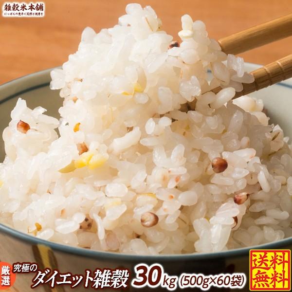 雑穀 雑穀米 糖質制限 究極のダイエット雑穀 30kg(500g×60袋) 送料無料 こんにゃく米配合 カロリーカット 豆なし ダイエット食品 置き換