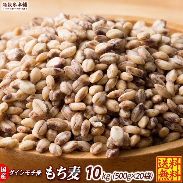 雑穀 麦 国産 もち麦 10kg(500g×20袋) 送料無料 高品質 厳選 ダイシモチ 腸内環境 脂肪激減 ダイエット ダイエット食品 置き換えダイエ