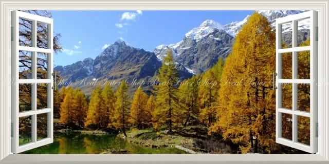 絵画風 壁紙ポスター アルプスの景色 紅葉 森林 森林浴 ラーゴブルー 北イタリア パノラマ 【窓仕様】 SNR-122MS1 (1152mm×576mm)