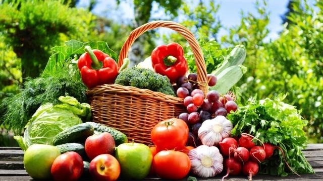 絵画風 壁紙ポスター カラフルな野菜と果物 トマト ピーマン リンゴ ブロッコリー キッチン FVEG-001S1 (1023mm×576mm)
