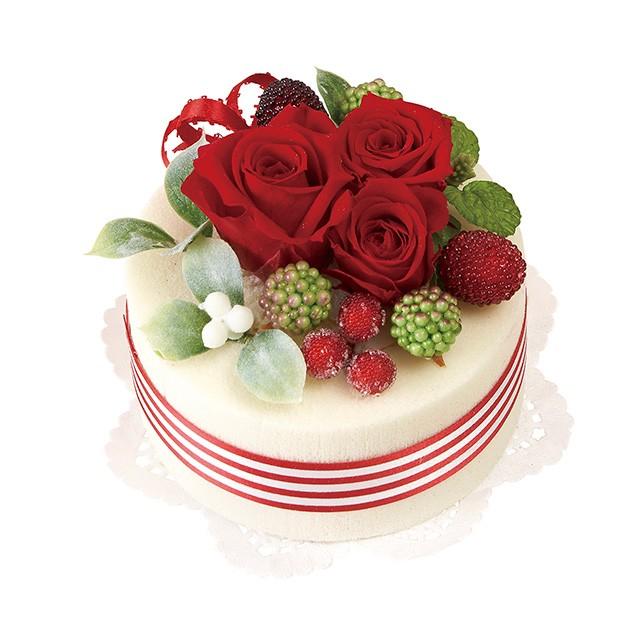 プリザーブドフラワー デコレーションケーキ #3 レッド プリザーブドフラワー ギフトアレンジ φ12.8 x H8cm 送料無料 お彼岸 敬老の日