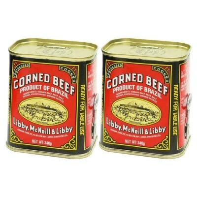 リビー コンビーフ 340g×2個セット Libby corned beef ウルグアイ産 送料別 牛肉 非常食 買置 巣ごもり 缶詰 缶切り不要 ヘルシー サン