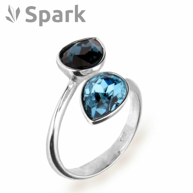 Spark 指輪 スワロフスキー社製 クリスタル シルバー Pear Drop サイズ フリー モンタナ アクアマリン 誕生日 プレゼント ギフト