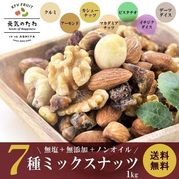 ミックスナッツ 7種 無添加 無塩 1kg 素焼き ナッツ 送料無料