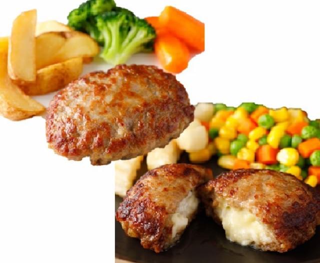 ハンバーグ セット 温めるだけ レンジ 冷凍 プレーン チーズインハンバーグ ギフト 冷凍食品 大容量 ポイント 12個入り 業務用 冷凍 お買