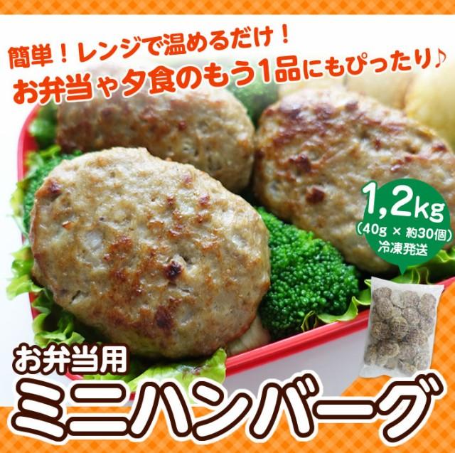 ハンバーグ ミニ 1.2kg 約30個入り 大容量 業務用 お徳用 ポイント消化 冷凍 冷凍食品 温めるだけ お弁当用 国内製造 お買い得 ハンバー