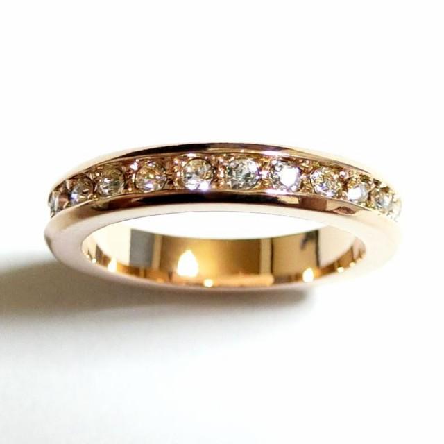 フルエタニティ スワロフスキークリスタル ピンクゴールド リング 指輪 レディース