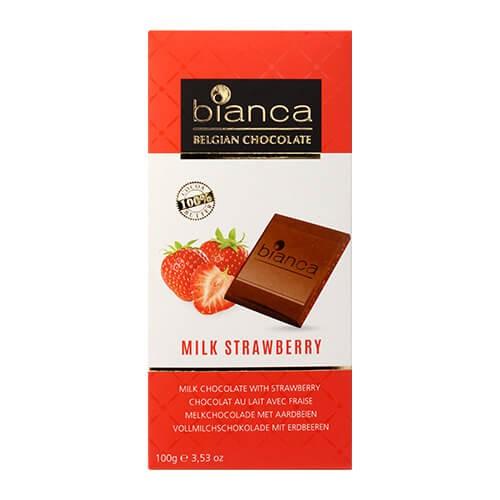 タブレットチョコレート ビアンカ ミルク ストロベリー 100g ベルギー クリスマス バレンタイン ホワイトデー 義理チョコ 長S