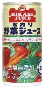 【ケース販売】ヒカリ 野菜ジュース(無塩) 190g×30缶