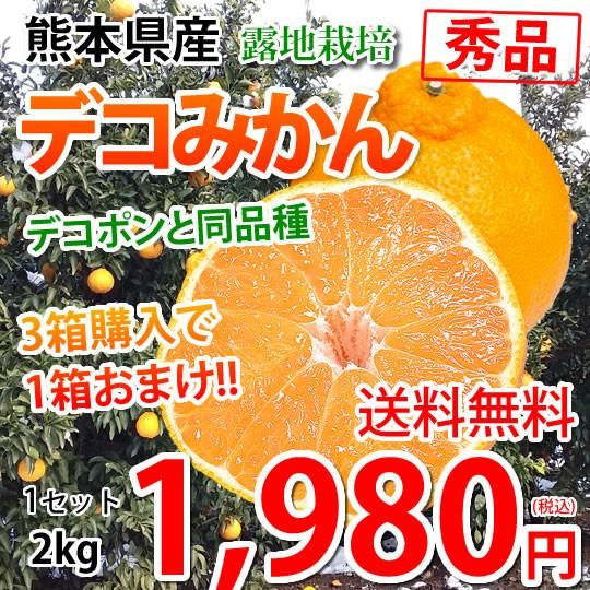 デコポン 同品種 デコみかん 送料無料 秀品 2kg 3箱購入で1箱おまけ 熊本県産 みかん 蜜柑 ミカン 不知火