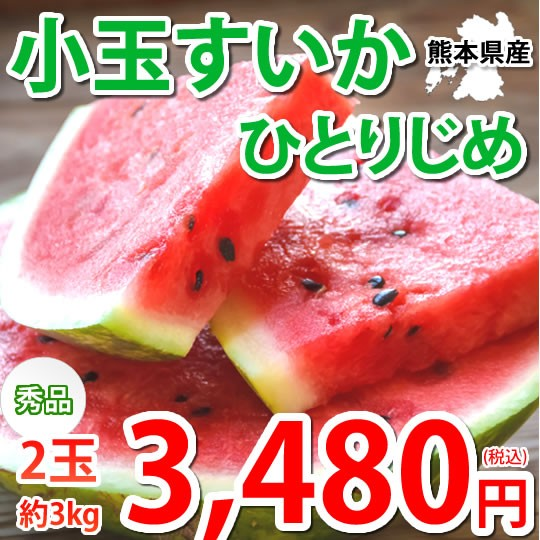 すいか 小玉すいか ひとりじめ 送料無料 秀品2玉 約3kg 西瓜 スイカ 熊本県産