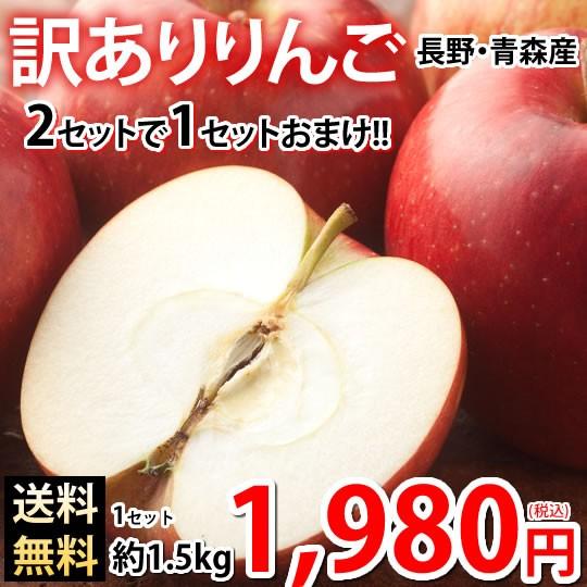 りんご 訳あり リンゴ 送料無料 約1.5kg 長野・青森県産 2セットで1セットおまけ お取り寄せ サンふじ つがる ジョナゴールド ふじ 林檎