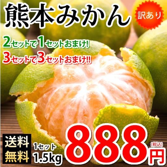みかん 熊本みかん 訳あり 送料無料 1.5kg 2S〜3L 2セット購入で1セットおまけ 3セット購入で3セットおまけ 熊本県産 極早生みかん 蜜柑
