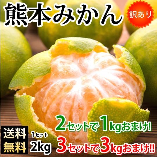 みかん 熊本みかん 訳あり 送料無料 2kg 2S〜3L 2セット購入で1kgおまけ 3セット購入で3kgおまけ 熊本県産 極早生みかん 蜜柑 ミカン