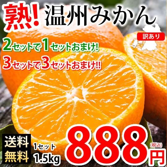 みかん 温州みかん 送料無料 訳あり 1.5kg 2セットで1セットおまけ 3セットで3セットおまけ 熊本県産 熊本みかん 蜜柑 ミカン