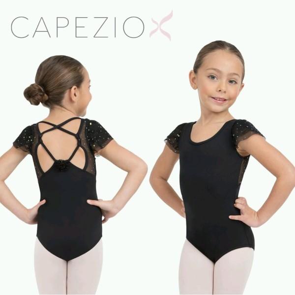 バレエ 子供 レオタード カペジオ キラキラドットが可愛い♪フルタースリーブレオタード スカート無し 3色展開