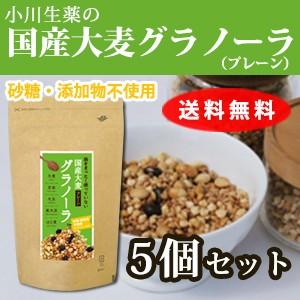 【送料無料】小川生薬めぐりあう恵み 国産大麦グラノーラ(プレーン) 250g 5個セット