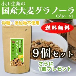 【送料無料】小川生薬めぐりあう恵み 国産大麦グラノーラ(プレーン) 250g 9個セットさらにもう1個プレゼント