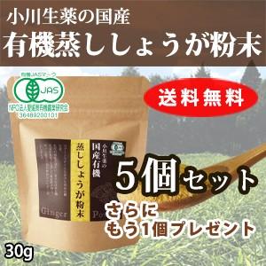 【送料無料】厳選小川生薬 国産有機蒸ししょうが粉末(蒸し生姜粉末) 30g 5個セットさらにもう1個プレゼント